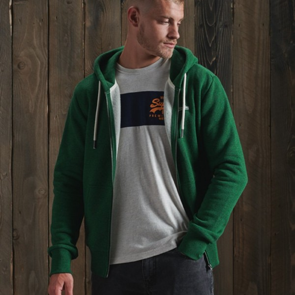Green Superdry Zip hood